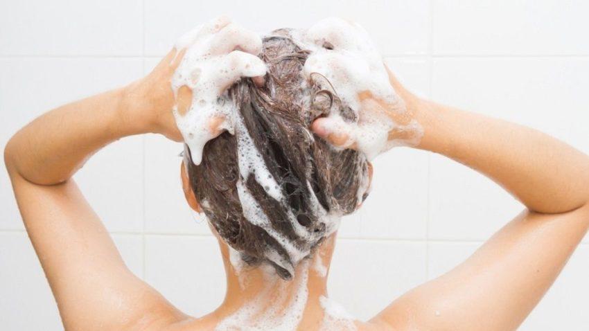 shampoo in hair