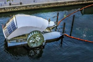 Solar powered water wheel cleans river