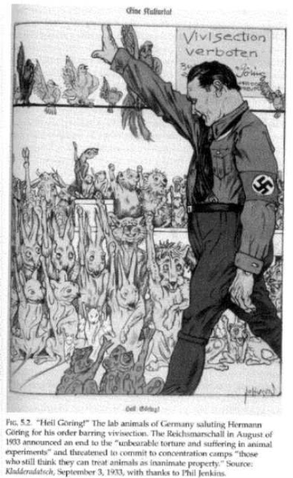 """A cartoon showing animals saved from vivisection saluting Hermann Goring. The sign in the window says """"Vivisection Forbidden""""."""